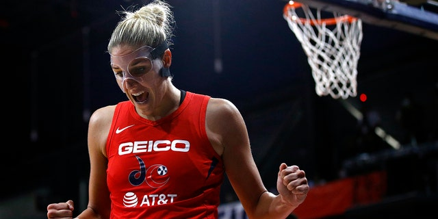 Washington Mystics forward Elena Delle Donne reacts after getting fouled while scoring in the second half of Game 1 of basketball's WNBA Finals against the Connecticut Sun, Sunday, Sept. 29, 2019, in Washington. Delle Donne contributed a team-high 22 points to Washington's 95-86 win. (AP Photo/Patrick Semansky)