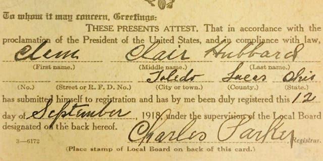 The World War I draft registration card.
