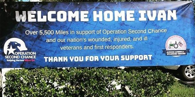 C. Ivan Stoltzfus was welcomed upon arriving home from his tractor journey on Saturday in Florida. (Courtesy of Operation Second Chance)