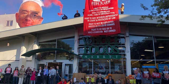 "Activists erected a large image of Amazon CEO Jeff Bezos' head on the roof of the store, with a sign over its head reading, ""I profit from criminal animal abuse."""