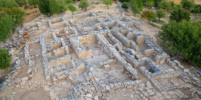 An aerial view of the ancient palace at Zominthos on the island of Crete.