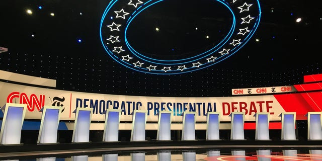 A look at the stage at Westerville, Ohio, hours before the fourth-round debate Tuesday.
