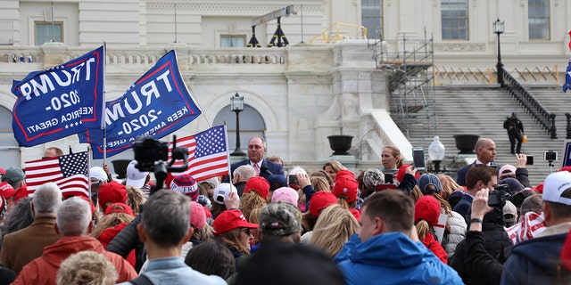 Steve Scalise, R-La., speaks to protesters at the March for Trump rally Thursday. He told rallygoers that Speaker of the House Nancy Pelosi, D-Calif.,