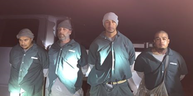 Authorities say these four inmates were caught after they escaped from the federal prison camp in Beaumont, Texas, Saturday, to go on a booze run.
