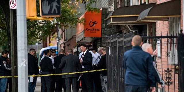 Authorities responded to a call about shots dismissed usually before 7 a.m. and found 4 group passed in a Crown Heights area of Brooklyn during an residence that corresponds to a private amicable bar according to an online map of a street. A lady and dual group suffered non-life-threatening injuries. (AP Photo/Jeenah Moon)