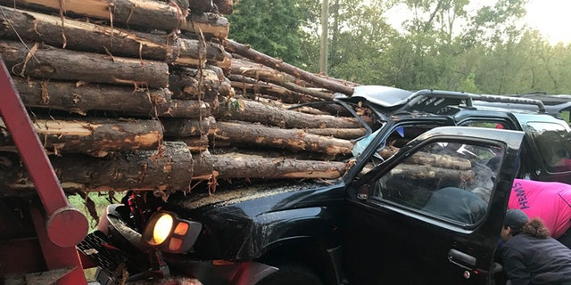 "A driver survived with ""minor"" injuries are logs from a logging truck pierced the an SUV in a crash earlier this month in Georgia."