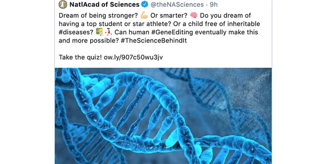An image from Monday, Sept, 30, shows a tweet posted by the National Academy of Sciences that was later removed after criticism arose. (AP Photo)