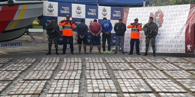 Authorities said the men had 1.2 tons of cocaine.