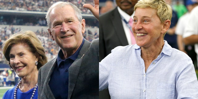 Former President George W. Bush and wife Laura, left, and Ellen DeGeneres, right, attended a Green Bay Packers and Dallas Cowboys in Arlington, Texas, Sunday, Oct. 6, 2019.