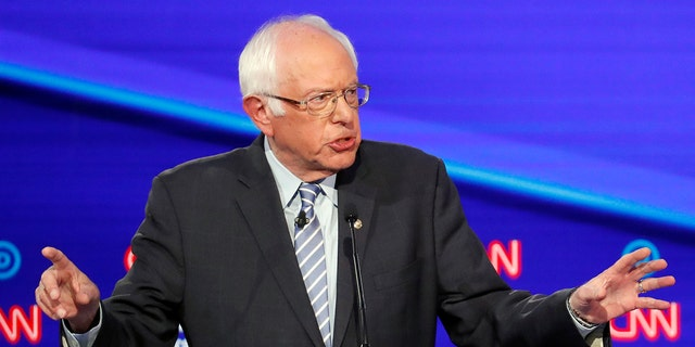 Democratic presidential candidate Sen. Bernie Sanders, I-Vt., speaks during a Democratic presidential primary debate in Westerville, Ohio, Oct. 15, 2019. (Associated Press)