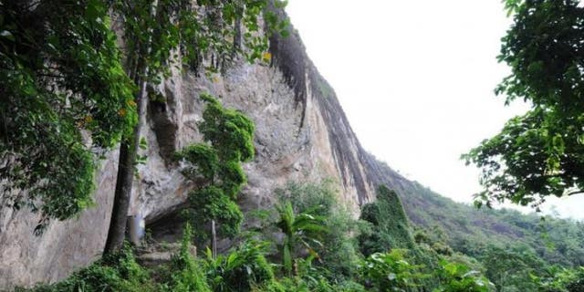 The Fa Hien Cave overlooking the rainforest in Sri Lanka.