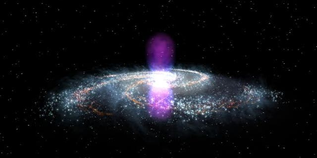 The Fermi bubbles, illustrated in gamma-ray light here, tower over the Milky Way and speak to a gargantuan cosmic explosion from the center of our galaxy. New research attempts to pinpoint that explosion's date.(Image: © NASA Goddard)
