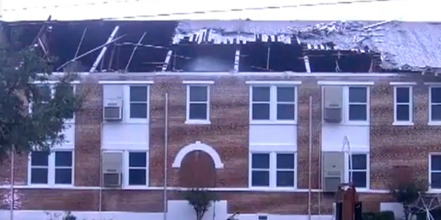 The partially torn roof of Kathleen Middle School