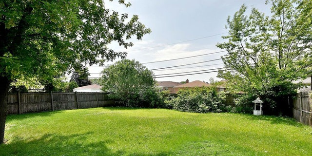An image of the backyard of the Norwood Park, Ill. home for sale.