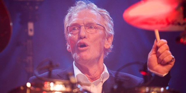FILE - In this Sunday, Dec. 7, 2008 file photo, British musician Ginger Baker performs at the 'Zildjian Drummers Achievement Awards' at the Shepherd's Bush Empire in London.