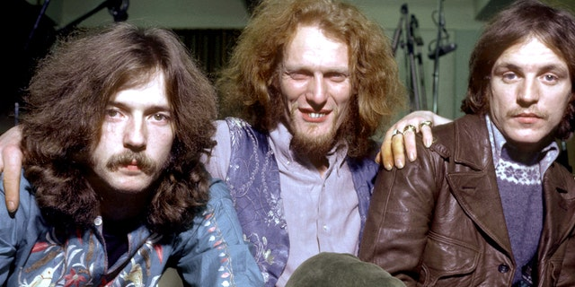 "British Rock Group ""Cream"" poses for a February 1968 portrait. L-Rt: Eric Clapton, Ginger Baker, Jack Bruce.."