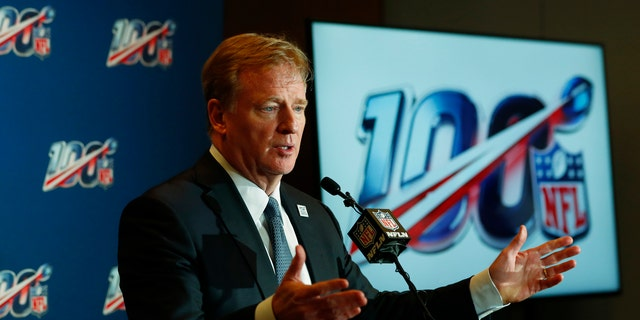NFL Commissioner Roger Goodell speaks at a news conference in Fort Lauderdale, Fla., Oct. 16, 2019. (Associated Press)