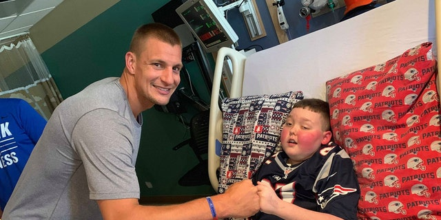Former New England Patriots tight end Rob Gronkowski visits his biggest fan on July 15.