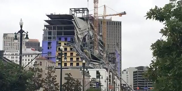 The Hard Rock hotel, which was under construction in New Orleans, is seen after a collapse that killed members of its construction crew.