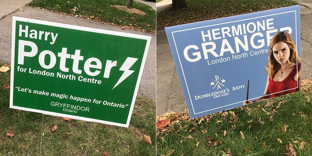 Harry Potter and Hermione Granger also appear to be running for office in Ontario, Canada.