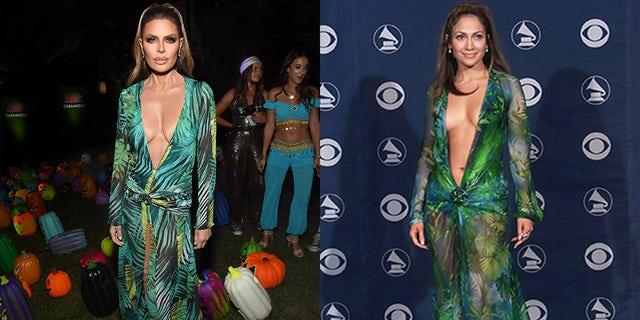 Lisa Rinna, esquerda, prestou homenagem a Jennifer Lopez, direita, balançando um vestido semelhante a JLo verde do vestido da Versace, a partir de 2000, o Grammy Awards.