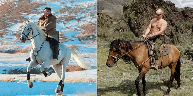 Who rode it better? Kim Jong Un channeled his inner Vladimir Putin with the equine photo shoot (KCNA via AP/Getty)