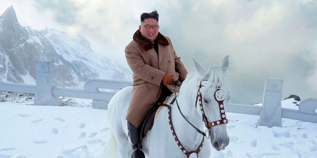"""He, sitting on the horseback atop Mt Paektu, recollected with deep emotion the road of arduous struggle he covered for the great cause of building the most powerful country with faith and will as firm as Mt Paektu,"" KCNA reported Wednesday."