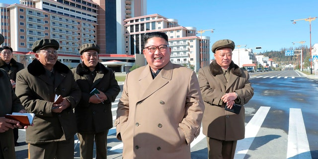 The government-run agency also said that during a visit later that day in Samjiyon County, Kim lamented over the U.S.-led U.N. sanctions that were imposed after nuclear talks broke down. (Korean Central News Agency/Korea News Service via AP)