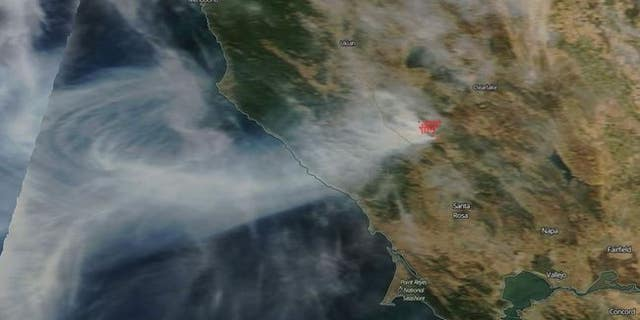 NASA's Terra satellite captured an image of the Kincade Fire in California last week.