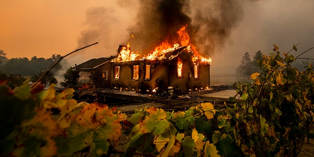 Vines surround a burning building as the Kincade Fire burns through the Jimtown community of unincorporated Sonoma County, Calif., on Thursday. (AP)