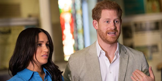 Meghan Markle, Duchess of Sussex and Prince Harry, Duke of Sussex revisit District 6 Museum on Sep. 23, 2019 in Cape Town, South Africa. The span are reportedly deliberation a pierce to Africa after a sour conflict with open life in a U.K.