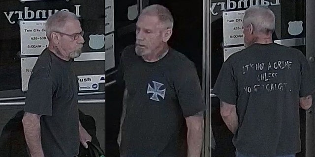 An unidentified man wore a rather ironic shirt while allegedly stealing $600 worth of money from a laundromat vending machine in Crystal City, Mo.