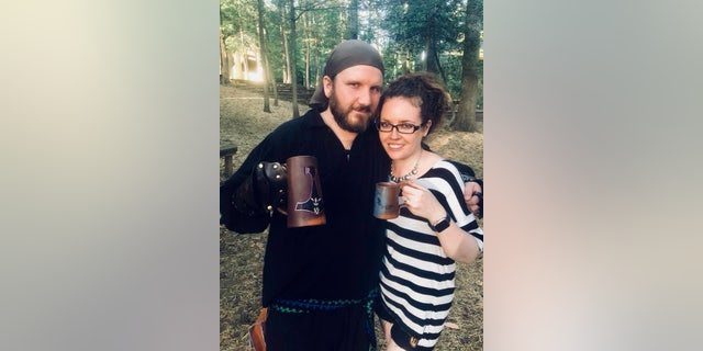 """Kelsey, pictured with Jesse (left), said she toyed with the idea of leaving the decorations up until Christmas and just adding """"a Santa hat."""""""