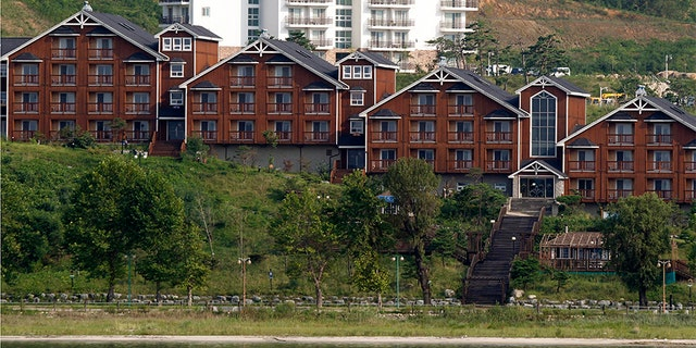In this 2011 file photo, South Korean invested villas line the coastline of the Mount Kumgang resort, also known as Diamond Mountain, in North Korea. (AP)