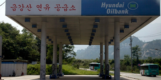 In this 2011 file photo, a South Korean invested gas station appears deserted in the Mount Kumgang resort.