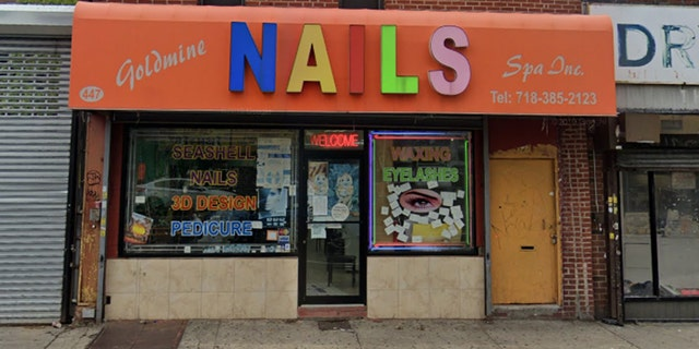 NYPD Officer Lesly Lafontant was attacked with a metal chair Friday inside the Goldmine Nails Spa in Brownsville, Brooklyn, police say.