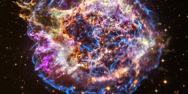 A view of Cassiopeia A that includes Chandra X-ray Observatory data. (X-ray: NASA/CXC/RIKEN/T. Sato et al.; Optical: NASA/STScI)