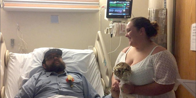 Timothy Berty, 25, and Jessica Berty, 30, got married at the hospital while he was recovering from brain surgery.