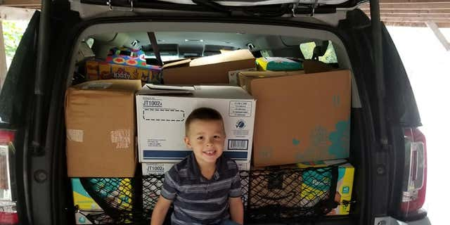 In total Weston received over 1,000 cans of Play-Doh, over 1,000 dinosaurs and hundreds of other toys for the children.