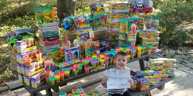 Weston decided to ask for toys that he could donate to the hospital where he was treated for cancer.