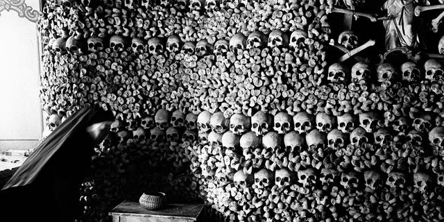 A chapel constructed of bones from humans who perished from the plague in the Middle Ages.
