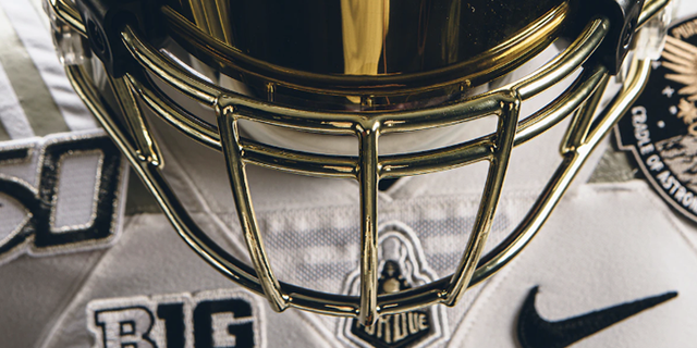 The Boilermakers will take a margin wearing white helmets with a chrome bullion mask, that is designed to resemble an astronaut's helmet. (Purdue University)