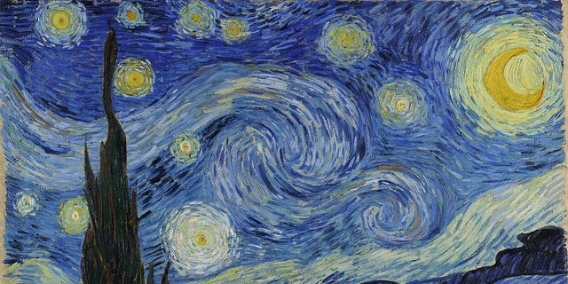 """Post-impressionist artist Van Gogh painted """"The Starry Night"""" in June 1889, inspired by the view from his asylum room in Saint-Rémy-de-Provence, France."""