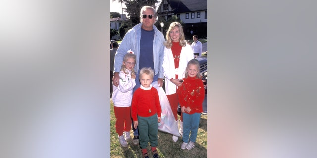 Actor Ron Ely, with wife Valerie Lundeen, and their three children at the Second Annual Toys for Tots Benefit on December 19, 1992 at Hancock Park in Los Angeles, California.