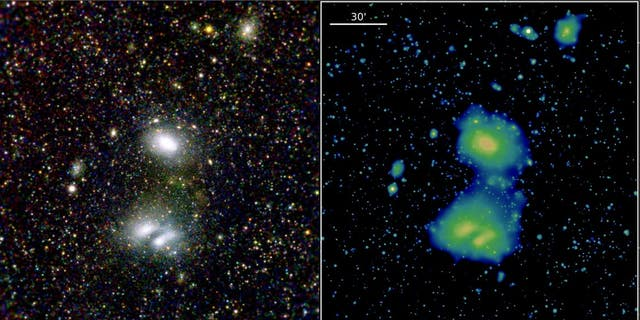 These two eROSITA images show the two interacting galaxy clusters A3391, to the top of the image, and the double-peaked cluster A3395, to the bottom, highlighting eROSITA's superb view of the distant Universe.