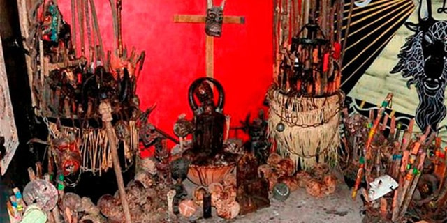 The altar found inside the suspected drug trafficking den in Mexico City. (Secretariat of Citizen Security of Mexico City)