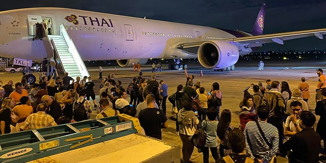 A Thai Airways flight from Bangkok to Switzerland didn't make it very far when the plane's left engine reportedly exploded as the aircraft began to take off.