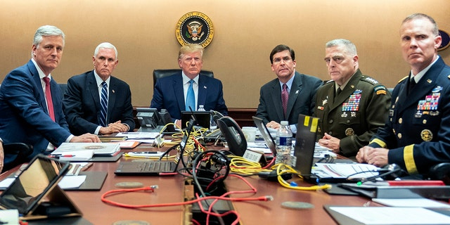 President Donald Trump is joined by from left, national security adviser Robert O'Brien, Vice President Mike Pence, Defense Secretary mark Esper, Joint Chiefs Chairman Gen. Mark Milley and Brig. Gen. Marcus Evans, Deputy Director for Special Operations on the Joint Staff, in the Situation Room as they monitored developments in the U.S. Special Operations forces raid that took out Islamic State leader Abu Bakr al-Baghdadi. (Shealah Craighead/The White House via AP)
