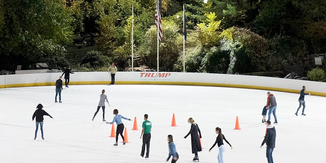 Trump's name as it used to appear on the boards at Wollman Rink in New York's Central Park.