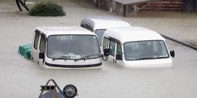 Cars lay submerged in H2O in a residential area strike by Typhoon Hagibis, in Ise, executive Japan Saturday, Oct. 12, 2019. A complicated surge and clever winds battered Tokyo and surrounding areas on Saturday as a absolute gale foresee as a misfortune in 6 decades approached landfall, with streets and sight stations forlorn and shops shuttered.(Kyodo News around AP)